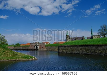 Moat And Entrance Gate To Castle And Fortress Of Kronborg, Home Of Shakespeare's Hamlet. Denmark