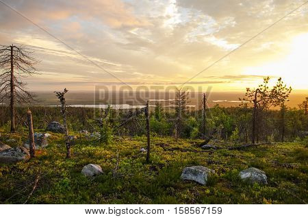 Sunset View To Taiga Forest And Lakes From Mountain Vottovaara, Karelia, Russia