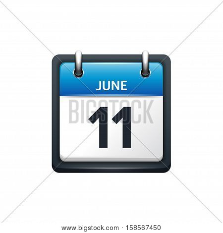 June 11. Calendar icon.Vector illustration, flat style.Month and date.Sunday, Monday, Tuesday, Wednesday, Thursday, Friday, Saturday.Week, weekend, red letter day. 2017, 2018 year.Holidays.
