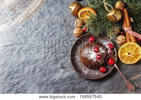 Christmas Chocolate Pudding With Cranberries, Walnuts, Cinnamon,