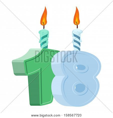 18 Years Birthday. Number With Festive Candle For Holiday Cake. Eighteen Anniversary