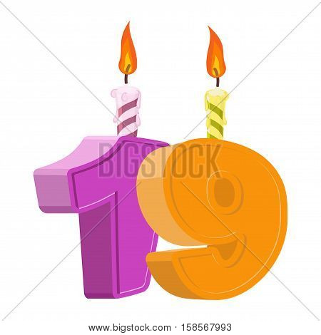 19 Years Birthday. Number With Festive Candle For Holiday Cake. Nineteen Anniversary