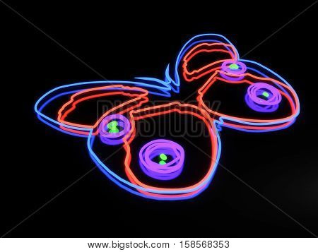 3d render illustration neon butterfly isolated on black background
