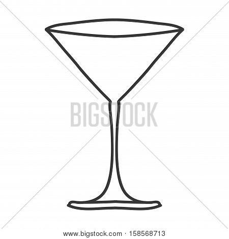 silhouette monochrome with martini glass vector illustration