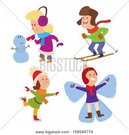 Christmas kids playing winter games. Skating, skiing, girl dresses up Christmas tree, boy makes a snow man. Cartoon New Year winter holidays background.