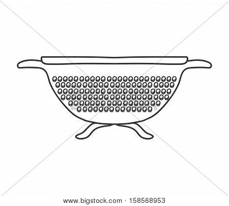 silhouette monochrome with kitchen drainer vector illustration