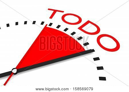 clock with red seconds hand area organized 3d Illustration