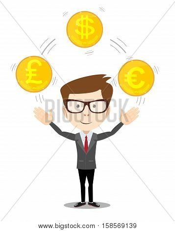 Cartoon businessman juggling with gold coins with different currency symbols. Vector illustration on business dealing with foreign exchange concept