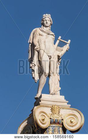 Apollo god statue, athens, greece down town