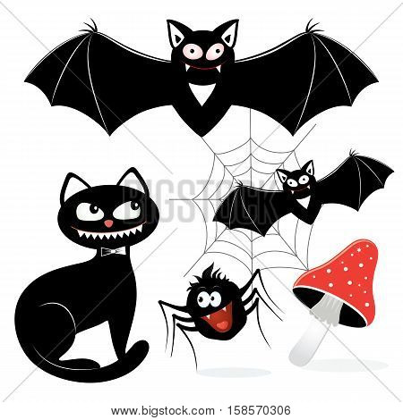 Vector illustration of animals and objects for hallowing holiday. Can be used for design packing prints and textile production
