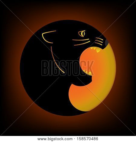 geometric image of black Panther with open mouth in the circle shape. dark background
