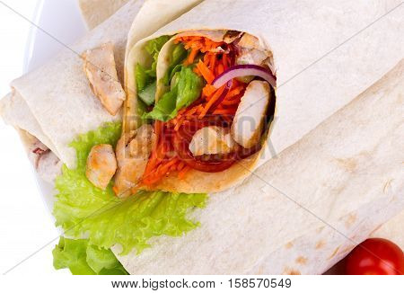 Shawarma with meat and lettuce. Close up