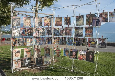 Montreux, Switzerland - September 02: stand with magazines Paris Match, different years of release at a flea market in Montreux, Switzerland on September 02, 2016