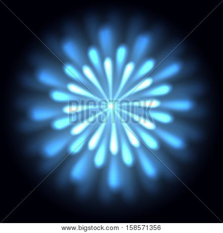 Blue chrysanth with glowing petals against black background. Vector illustration