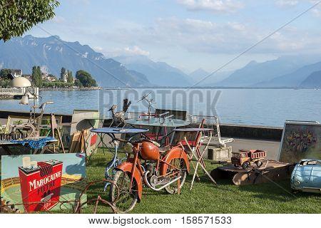 Montreux, Switzerland - September 02: flea market on the promenade of Lake Geneva in Montreux, Switzerland on September 02, 2016