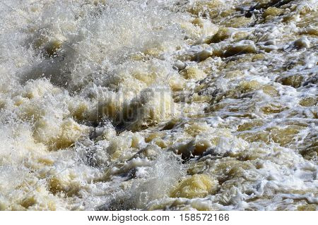 White rapids in the middle of a river