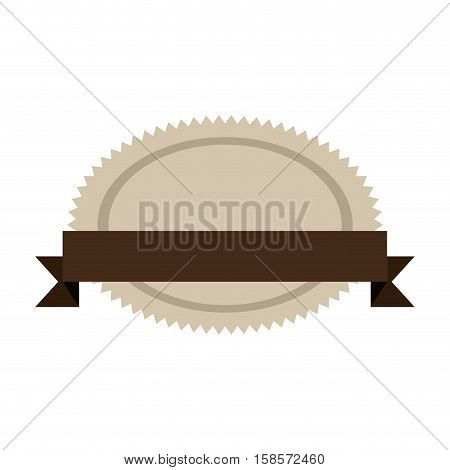 oval jagged shape seal stamp with brown label vector illustration