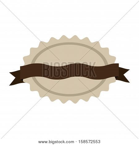 oval jagged shape seal stamp with brown curved label vector illustration