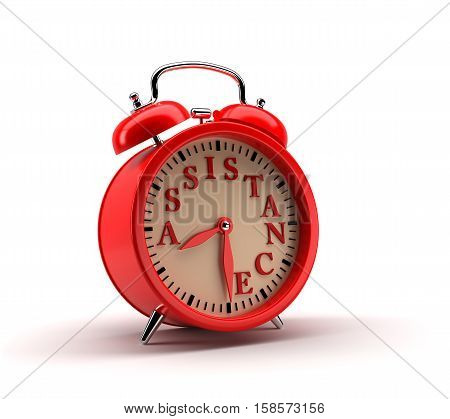 Red alarm clock with ASSISTANCE word and clipping path.