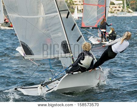 Children sailing activities at Belmont 16ft sailing Club . Lake Macquarie New South Wales Australia.