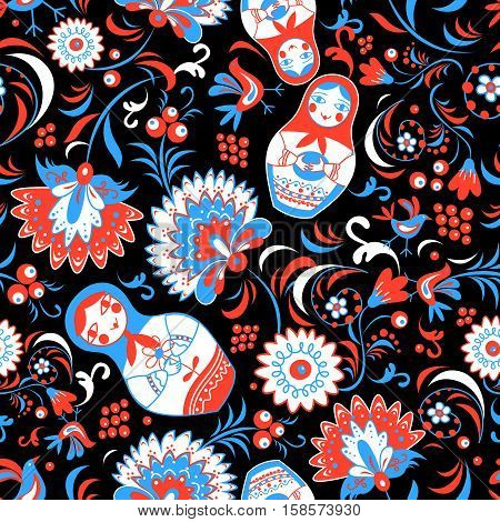 Russian design pattern with flowers and dolls