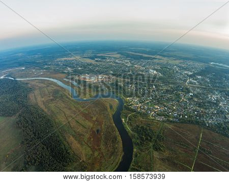 The view from the height of the river Mologa and town Maksatikha. Shooting from height of the bird's flight. Maksatikhinsky District Tver Region.