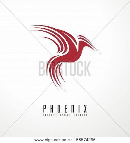 Phoenix logo template, creative vector symbol concept