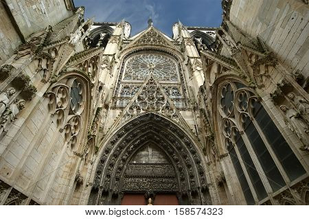 France- May 4: Gothic Cathedral  On May 4, 2012 In Rouen, France. Roman Catholic Gothic Cathedral In