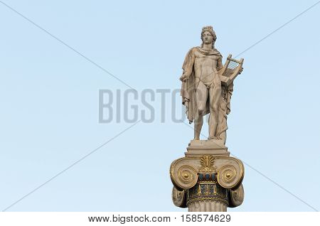 Apollo statue left space, athens, greece, downtown