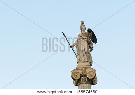 Athena statue left space, athens, greece, downtown
