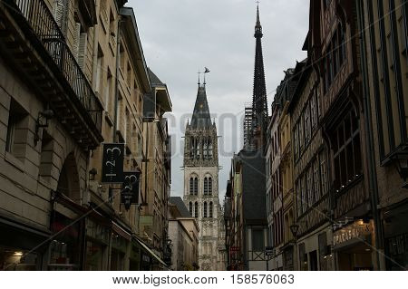 Roman Catholic Gothic Cathedral In Rouen,  Haute-normandy, France