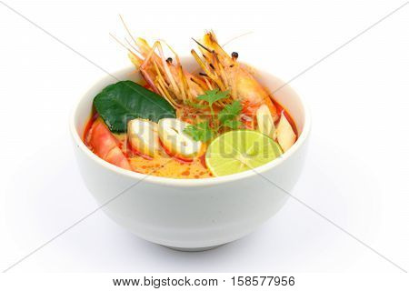 Tom Yum Soup or River Prawn Spicy Sour Soup (Tom Yum Goong) isolated on white background Thai local food