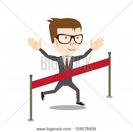 young business man crossing the finish line. Stock vector illustration