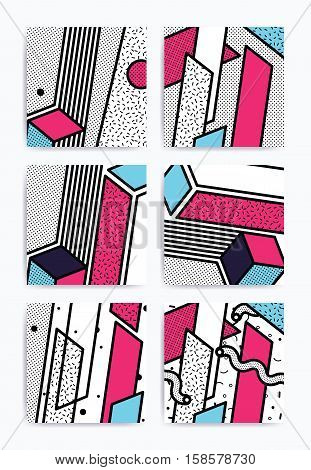 Colorful Pop art geometric pattern set with bright bold blocks. Colorful Material Design Background in Pink Yellow Blue Black and White. Prospectus, poster, magazine, broadsheet, leaflet, book