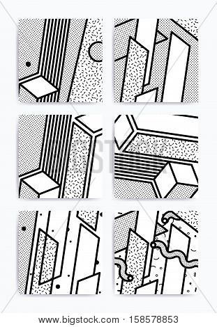 Pop art geometric pattern set. Bright bold blocks. Material Design Backgroundblack and white. Prospectus, poster, magazine, broadsheet, leaflet, book