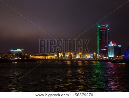 Belarus Minsk Pobediteley avenue at night the lighting of houses 19.11.2016 year the editorial