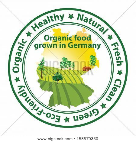 Organic food grown in Germany - stamp with the map of Germany