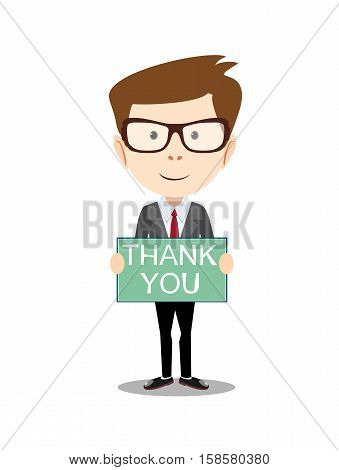 Businessman hands holding Thank you sign vector