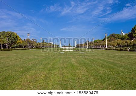 Eduardo VII Park in Lisbon, Portugal. The largest park in the city center. Built next to the iconic Marques de Pombal roundabout, it prolongs the famous Liberdade Avenue.