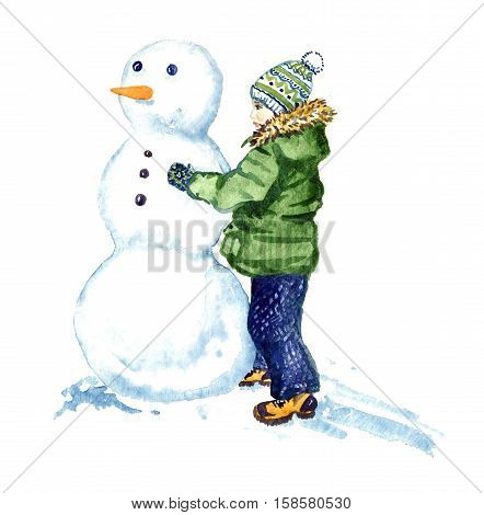 The boy is sculpting snowman, isolated hand painted watercolor illustration