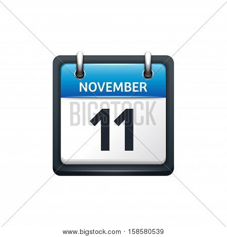 November 11. Calendar icon.Vector illustration, flat style.Month and date.Sunday, Monday, Tuesday, Wednesday, Thursday, Friday, Saturday.Week, weekend, red letter day. 2017, 2018 year.Holidays.