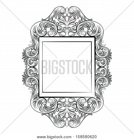 Vintage Imperial Baroque Round frame. Vector French Luxury rich carved ornamented decor. Victorian wealthy Style structure