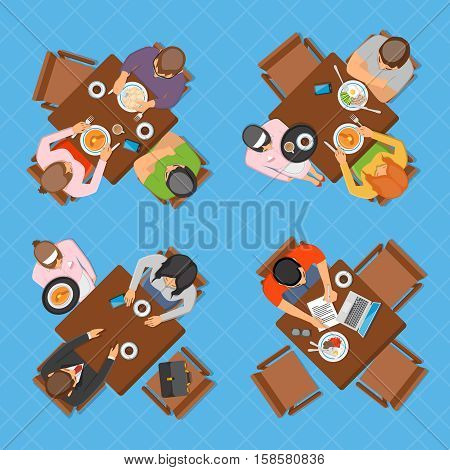 Professions top view design composition with business people working eating and talking in restaurant or cafe flat vector illustration
