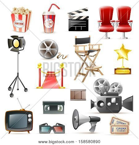 Retro cinema film making and movies festivals  accessories icons set with camera loudspeaker clapper isolated vector illustration