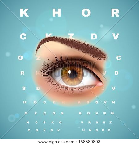 Ophthalmic clinic optometrist visual acuity control chart with beautiful realistic young woman eye advertisement composition poster vector illustration