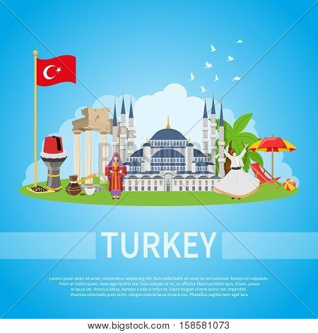 Turkey flat design composition with mosque man and woman in ethnic clothes and historical landmarks icons vector illustration