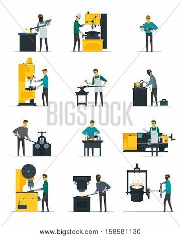 Blacksmith at work flat icons set with metal melting casting forging and hammering on anvil isolated vector illustration