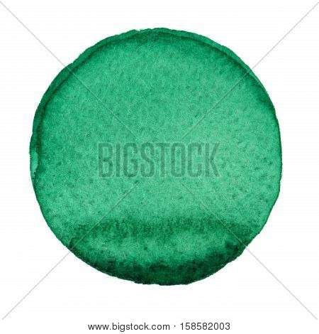 Green circle painted with watercolors isolated on a white background. Watercolor background green. Sample trendy colors 2017. Lush Meadow color