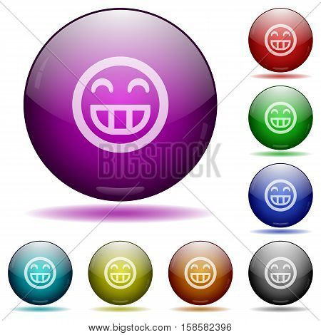Laughing emoticon color glass sphere buttons with shadows.