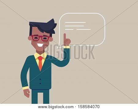 Handsome young black businessman holding up his index finger and giving advice. Attractive manager speaking with speech bubble. Modern character design. Vector illustration in the flat style.